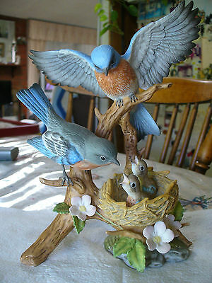 Danbury Mint Bluebirds of Spring Bisque Collectible 8 1/2 Inches FREE Shipping