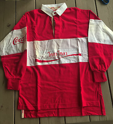 Vintage 1980s Coca-Cola Rugby Shirt Red Medium Unwashed Thailand