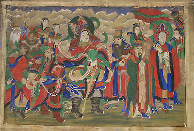 """A Very Fine/Large Korean """"Sinjoong(신중 (神衆) (Host of Spirits)"""" Buddhist Painting"""
