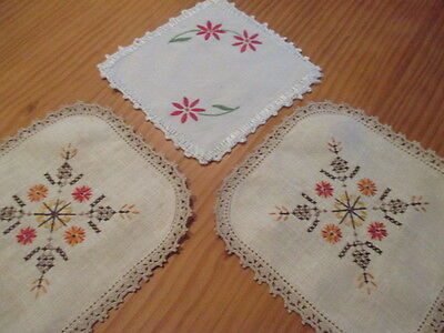 3 Vintage Retro Linen & Crocheted Doilies.Lovely Work. Old World Charm. LOOK!