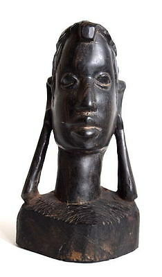 Vintage AFRICAN HAND CARVED EBONY TRIBAL BUST- Large Ear Lobes!