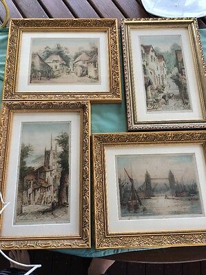 Antique Original Art Work Colour Etchings By James Alphege Brewer Hand Signed