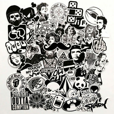 60 Black White Stickers Skateboard Graffiti Laptop Luggage Car Bomb Decal 1419