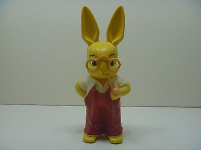 Knickerbocker Vintage 1950's Plastic 11 1/2 Inch Bunny With Glasses Bank