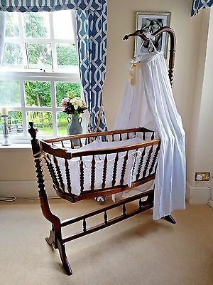Rare Victorian Antique Shaker Style Crib Moses Basket Cot Crib Cradle Swinging