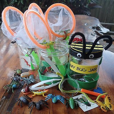 Bug Catcher KITS x 4 Net Tweezers Magnifying Glass insect birthday party 48 toys