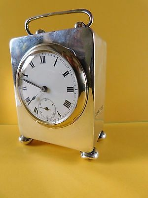 1913 / 38 ANTIQUE SOLID SILVER CLOCK by BLACKENSEE & SONS Ltd