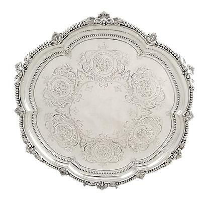 """Antique Victorian Sterling Silver 11"""" Tray/salver - 1900"""