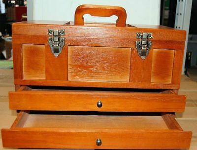 Two Drawer Tools & Accessories Wooden Toolbox Cabinet Toolmakers Engineers Etc