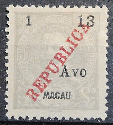 Macau Stamps SC#209 King Carlos 1a on 13a Gray Lil