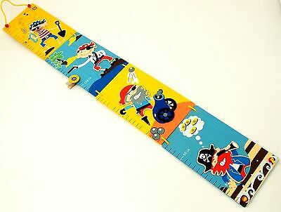 Pirate Height Chart Wooden for Kids to 1.55m 4 Panels Fold Up Wall Hanging NEW