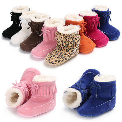 USA Tassel Baby Newborn Infants Girl Boy Cotton Booties Snow Boots Warm Shoes