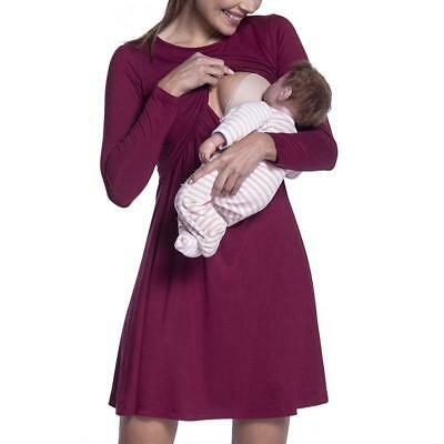 Women Long Sleeve Dress Casual Maternity Breastfeeding Clothes Cotton Dresses