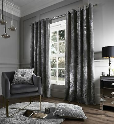 Designer Crushed Velvet Curtains, Fully Lined Ring Top Eyelet Curtain Pair