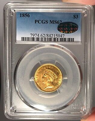 1856 $3 PCGS MS 62 CAC Three Dollar Gold Piece