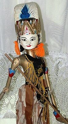 Hand Painted Hand Cut Vintage Wood & Cloth Puppet