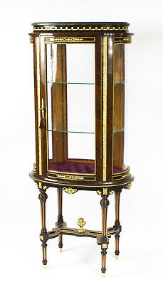 Vintage French Oval  Glazed Freestanding Marble Top Display Cabinet 20th C