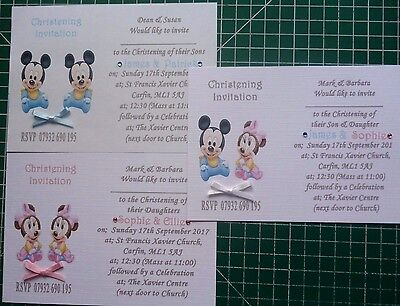 10, 15, 25,50 Lovely Handmade Minnie/Micky Mouse TWINS Christening Invitations