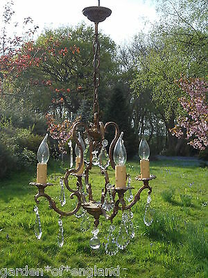 Pretty vintage French bronze 4 arm  cage chandelier with full cut drops(F6969)