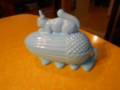 """Lt Blue Art Glass Squirrel on Acorn  Covered Bowl, Candy Dish 5"""" T"""