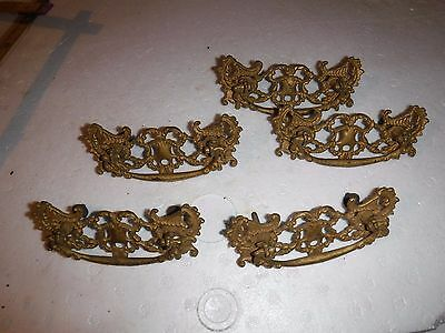 LOT of 5 Nice Ornate Antique Cast Brass Victorian Deco DRAWER PULLS steampunk 3""