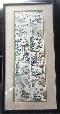 Excellent Condition Antique Chinese Qing Dynasty Silk Sleeve Bands Glass Framed