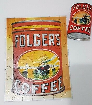 VINTAGE FOLGERS COFFEE PROMOTIONAL PUZZLE IN OPENED CANISTER circa 1980s