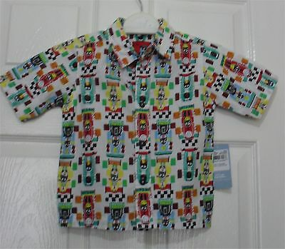 Tu boys racing car pattern shirt new with tags 12-18 months -tag price £6.00