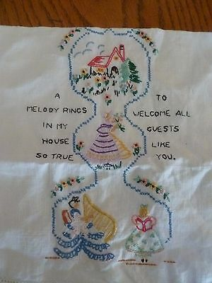 "VINTAGE 19"" LINEN TEA TOWEL ~ HAND EMBROIDERED GUEST ~ Great condition.i"