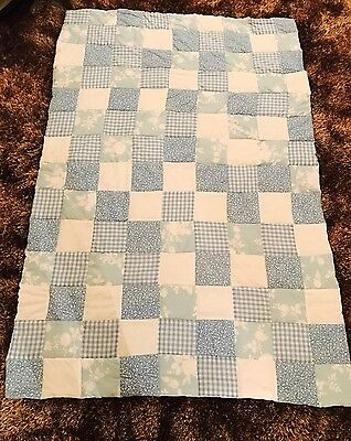 Baby Blue Handmade Patchwork Quilt, Cot, Cotbed RRP £75 NEW