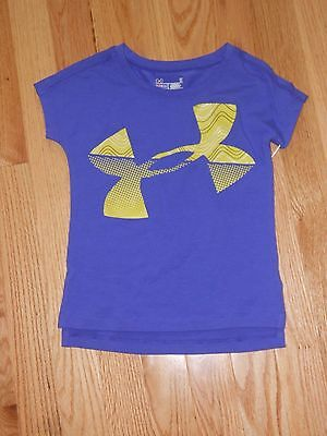 NWT - Under Armour Heat Gear short sleeved purple & lime green top - 3T girls