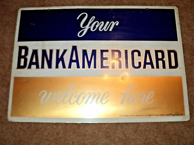 """Vintage 1970 Your BankAmeriCard Welcome Here Metal Double Sided sign 23"""" X 16"""""""