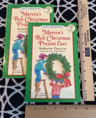 LOT OF 2 (TWO) COPIES Marvin's Best Christmas Present Ever (I Can Read) BOTH NEW