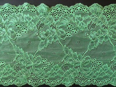 "laverslace Delicate Apple Green Floral Wide Stretch Tulle Lace Trim 7""/17.5 cm"
