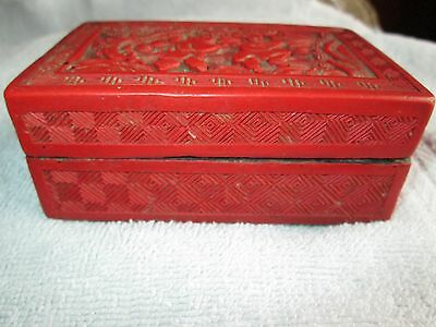 """Antique CHINESE CARVED COVERED BOX 19th C Size 4"""" x 2 1/2"""" x 1 1/2 tall"""