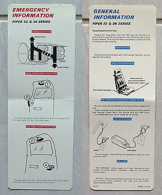 New SAFETY CARD PIPER PA32 Cherokee Six PA34 Seneca