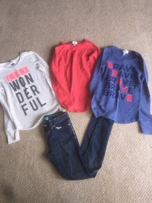 Old Navy Size 10/12 Girls 3 Shirts & 1 Pair Of Jeans