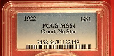 1922 Grant No Star Gold Commememorative Dollar Certified PCGS MS64