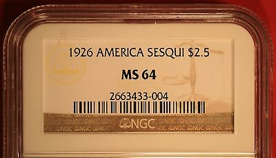 1926 America Sesquicentennial $2.50 Gold Commemorative Certified NGC MS 64