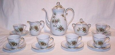 Seyei Fine China Tea / Coffee Set  Pine Cones & Needles From Nagoya Japan
