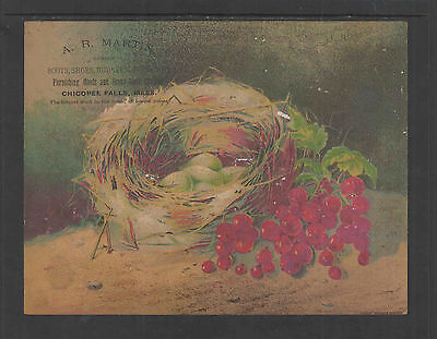 1880s A R MARTIN CHICOPEE FALLS MASS BOOTS SHOE ADVERTISING VICTORIAN TRADE CARD