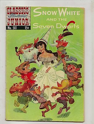 Classics Illustrated Junior No 501 Snow White and The Seven Dwarfs Oct 1953