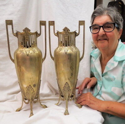 "signed pair 18"" WMF silver plate Funeral Vases gold wash ART NOUVEAU 1895-1903?"