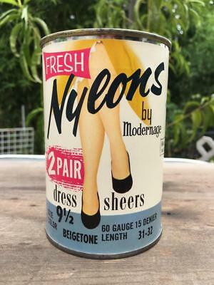 Vintage Can Fresh Nylons by Modernage 2 Pair Stockings NOS Mid-Century Rare