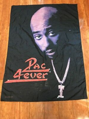 "RARE 1998 Tupac Shakur 4-ever 42""x30"" Cloth Poster Fabric Flag Art Tapestry."