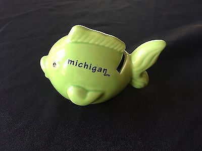 "Michigan Fish Piggy Bank 4"" Long"