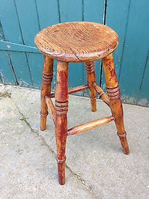 Antique Victorian Elm Four Legged Farmhouse Stool (Milking Stool, Foot Stool)