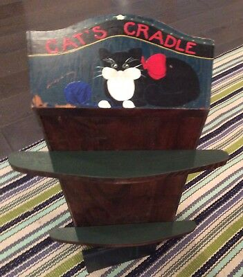 Antique Baby Cradle Cat Mice Bed Bedding Wood Hand Made Painted Folk Art Nursery