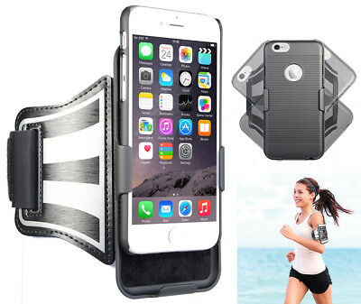 BLACK CASE COVER + ARMBAND STRAP COMBO ROTATING/REFLECTIVE FOR APPLE iPHONE
