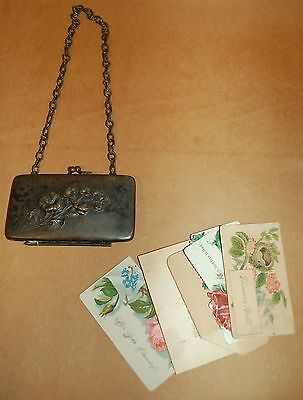 ANTIQUE SILVERPLATE CALLING CARD COIN CASE w/CARDS & CHAIN